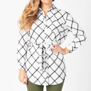 Flannel Tunic Windowpane - Ivory/Black